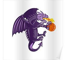 Dragon Fire Holding Basketball Isolated Retro Poster