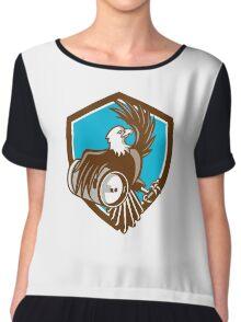 American Bald Eagle Beer Keg Crest Retro Chiffon Top