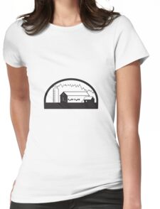 Farm Barn House Silo Black and White Womens Fitted T-Shirt