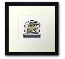 Goat Beard Head Circle Woodcut Framed Print