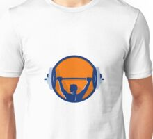 Weightlifter Lifting Barbell Rear Circle Retro Unisex T-Shirt