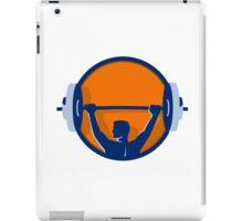 Weightlifter Lifting Barbell Rear Circle Retro iPad Case/Skin