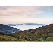 Cloud inversion over Ambleside at sunrise. Cumbria, UK. Photographic Print