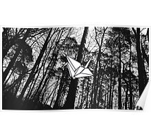 Black and White Crane - Forest  Poster