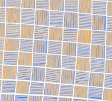 Wavy Rectangles Orange Blue Blue Orange White White Sticker