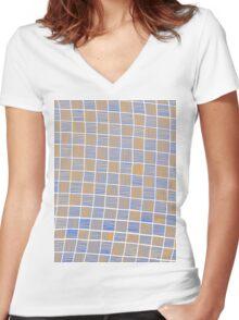 Wavy Rectangles Orange Blue Blue Orange White Women's Fitted V-Neck T-Shirt