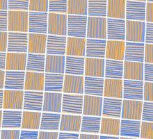 Wavy Rectangles Orange Blue Blue Orange White Sticker