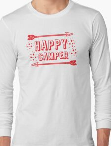 Happy Camper with arrows in RED Long Sleeve T-Shirt