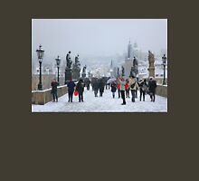 Snowing on Charles bridge  - Prague Unisex T-Shirt