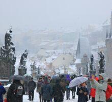 Snowing on Charles bridge  - Prague Sticker