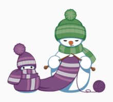 Knitting Snowman One Piece - Long Sleeve