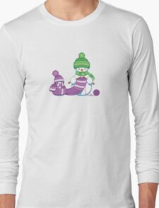 Knitting Snowman Long Sleeve T-Shirt