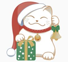 White Christmas Cat Kids Tee