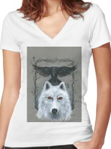 Ghost And The Three-Eyed Raven Women's Fitted V-Neck T-Shirt
