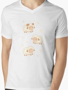 Cute Little Sheep on Tan Brown Mens V-Neck T-Shirt