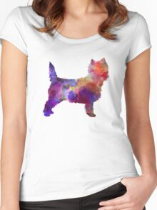 Cairn Terrier in watercolor Women's Fitted Scoop T-Shirt