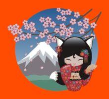 Japanese Kitsune Kokeshi Doll Kids Tee