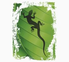 Lizard Gecko Shape on Green Leaf One Piece - Short Sleeve