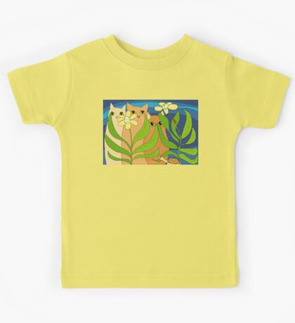 Three Cats, Two Flowers, One Snail and A Ladybug Kids Tee