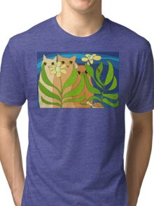 Three Cats, Two Flowers, One Snail and A Ladybug Tri-blend T-Shirt