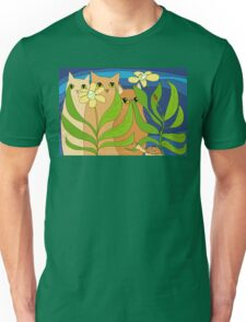 Three Cats, Two Flowers, One Snail and A Ladybug Unisex T-Shirt