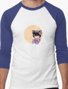 Japanese Nekomimi Kokeshi Doll Men's Baseball ¾ T-Shirt
