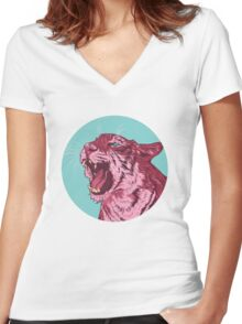 Magenta tiger Women's Fitted V-Neck T-Shirt