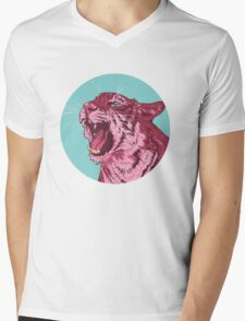 Magenta tiger Mens V-Neck T-Shirt