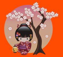 Japanese Sakura Kokeshi Doll Kids Tee