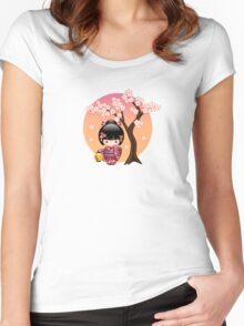 Japanese Sakura Kokeshi Doll Women's Fitted Scoop T-Shirt