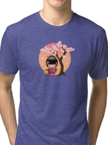 Japanese Sakura Kokeshi Doll Tri-blend T-Shirt