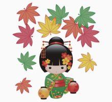 Japanese Fall Kokeshi Doll Baby Tee