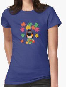 Japanese Fall Kokeshi Doll Womens Fitted T-Shirt