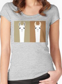 LLAMA COUPLE Women's Fitted Scoop T-Shirt