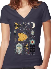 Midnight Bugs Women's Fitted V-Neck T-Shirt