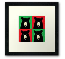 BLACK BEAR ON RED & GREEN Framed Print