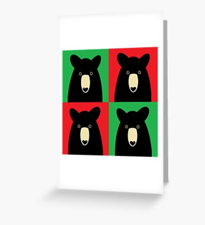 BLACK BEAR ON RED & GREEN Greeting Card