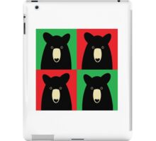BLACK BEAR ON RED & GREEN iPad Case/Skin