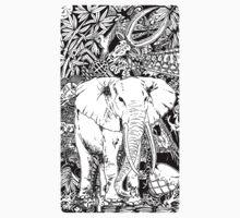 White Elephant Indian Ink Tribal Art Kids Tee