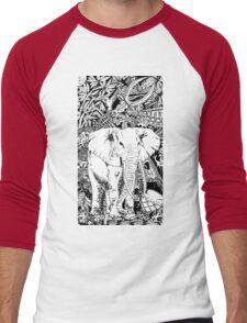 White Elephant Indian Ink Tribal Art Men's Baseball ¾ T-Shirt