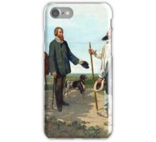 The Meeting, Bonjour Monseiur Courbet. Gustave Courbet. . Realism. Staged a meeting of country and city. Somewhat self portrait. iPhone Case/Skin