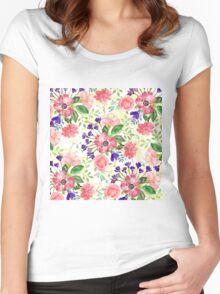 Watercolor garden flowers Women's Fitted Scoop T-Shirt