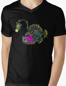 Electric Angler Fish Mens V-Neck T-Shirt