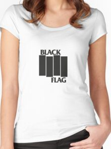 BLACK FLAG on WHITE Women's Fitted Scoop T-Shirt