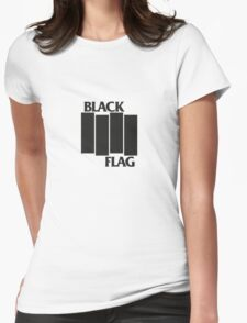 BLACK FLAG on WHITE Womens Fitted T-Shirt