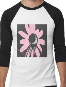 Retro pretty daisy pink black floral pattern Men's Baseball ¾ T-Shirt