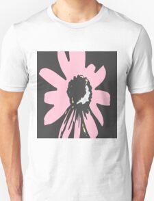 Retro pretty daisy pink black floral pattern Unisex T-Shirt