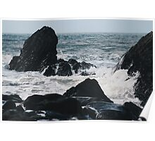 Waves breaking in Bude, Corwnwall Poster