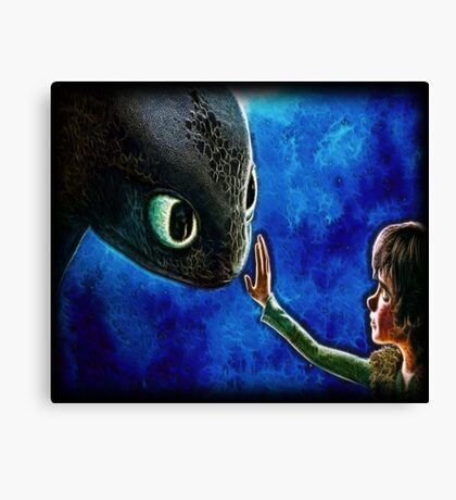 Hiccup And Toothless The Black Night Fury Dragon Canvas Print