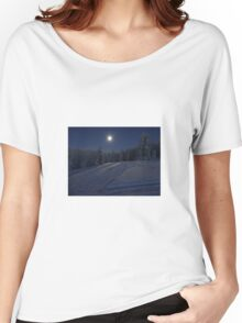 winter scene at night Women's Relaxed Fit T-Shirt